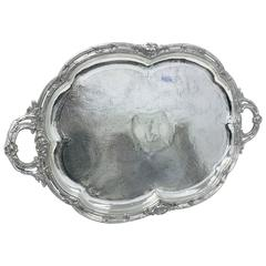Large Oval French Tray in Old Sheffield Plate, Georgian Period circa 1830