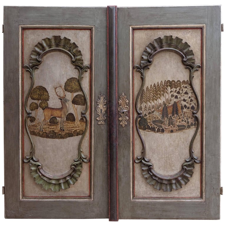 Pair of German 18th Century Baroque Painted Doors Hunting Deer Stag For Sale