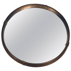 Jacques Adnet, Faux-Leather Mirror, circa 1950
