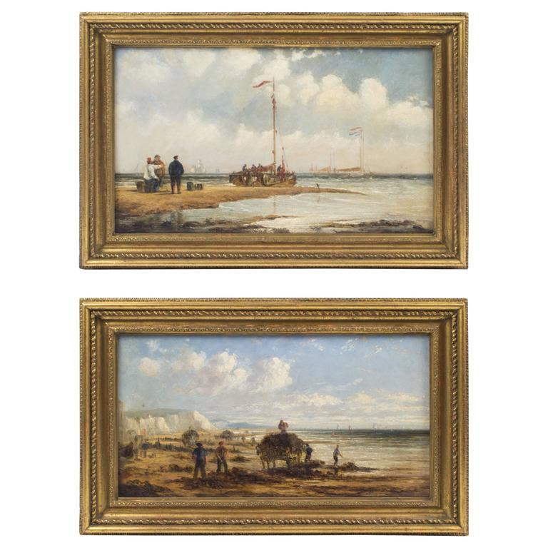19th Century Pair of English School Oil Paintings Fishermen