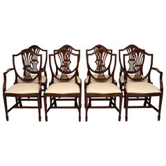 Set of Eight Antique Georgian Style Mahogany Dining Chairs