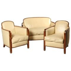 French Art Deco Lounge Sofa Set in Light Leather