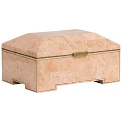 Maitland Smith Designed Tessellated Stone Lidded Box, 1980s