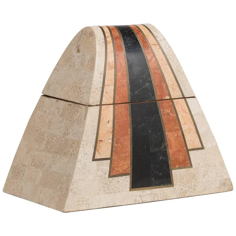 Maitland Smith Tessellated Stone Veneered Box, 1980s