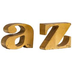 Rare Pair of A-Z Gilded Bookends by Curtis Jere, Signed 1968