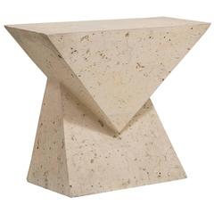 Geometric Composition Stone Veneered Console Table, 1970s
