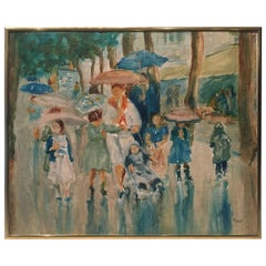 Charming Impressionist Painting of Women and Children in the Rain
