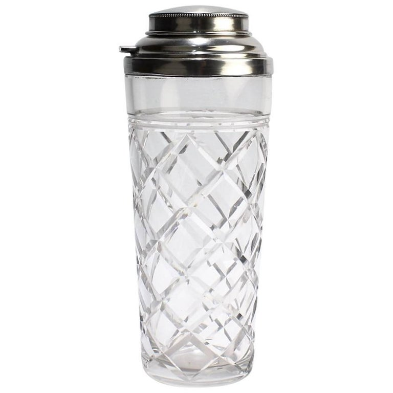 American Art Deco Cut-Glass and Sterling Silver Cocktail Shaker by Webster & Co