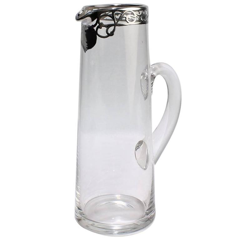 Tall Art Nouveau Sterling Silver Overlay, Cocktail Pitcher, Early 20th Century