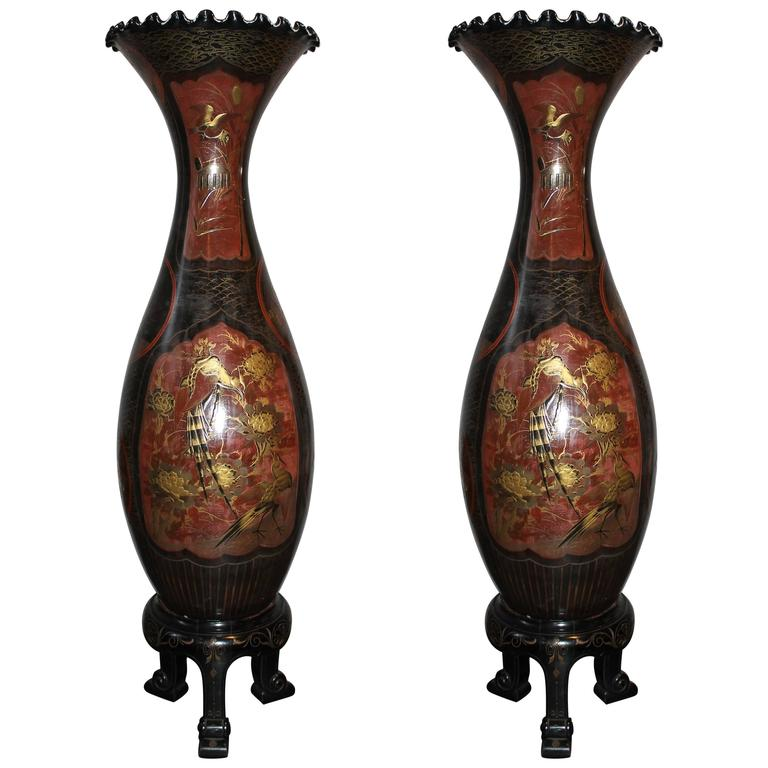 Pair Of Tall Japanese Vases Circa 1900 For Sale At 1stdibs