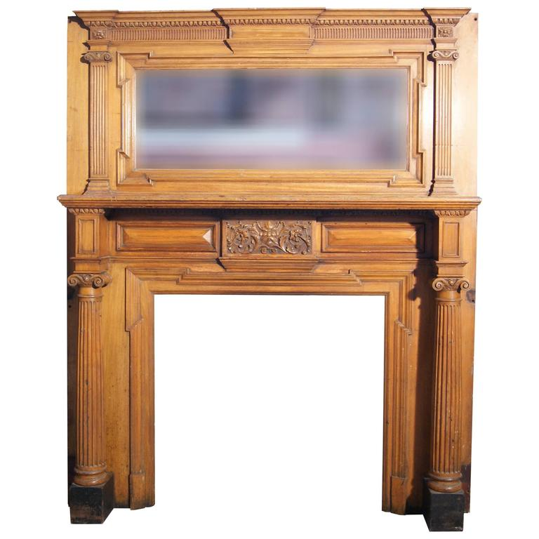 Large Carved Walnut Fire Surround, circa 1880