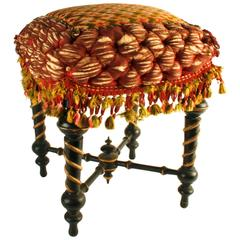English Aesthetic Movement Tufted and Gilt Painted Stool, Late 19th Century