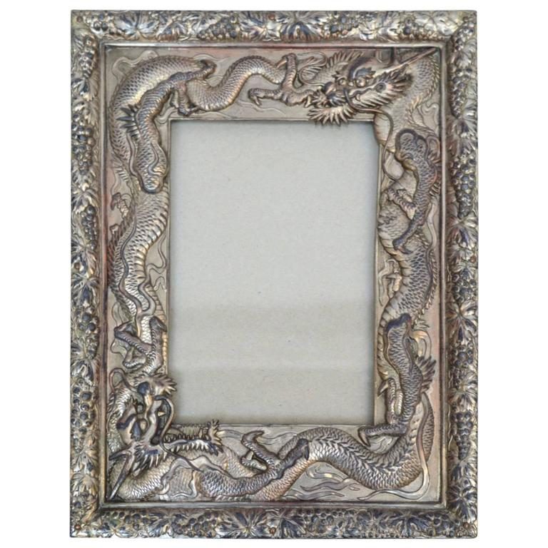 Japanese Silver Plated Picture Frame Embellished with Dragons, circa ...