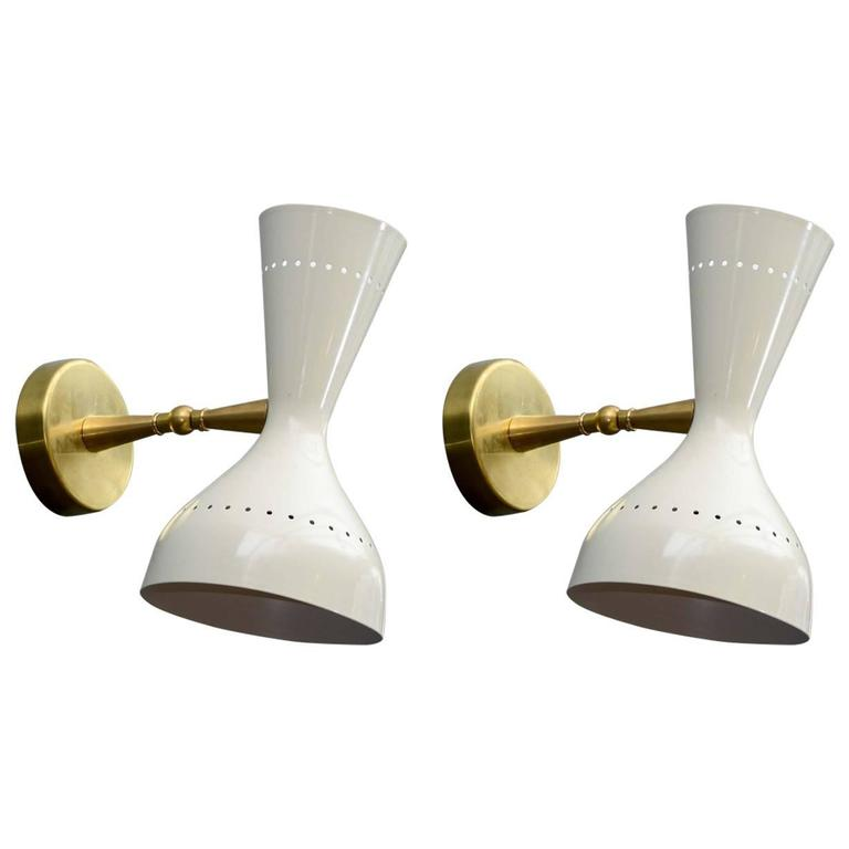 Pair of Brass and White Metal Cones Wall Sconces at 1stdibs
