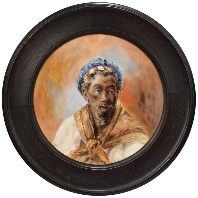 Large Hand-Painted Orientalist Limoges Porcelain Wall Plaque with a Blackamoor For Sale