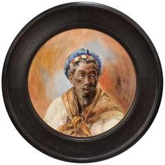 Large Hand-Painted Orientalist Limoges Porcelain Wall Plaque with a Blackamoor