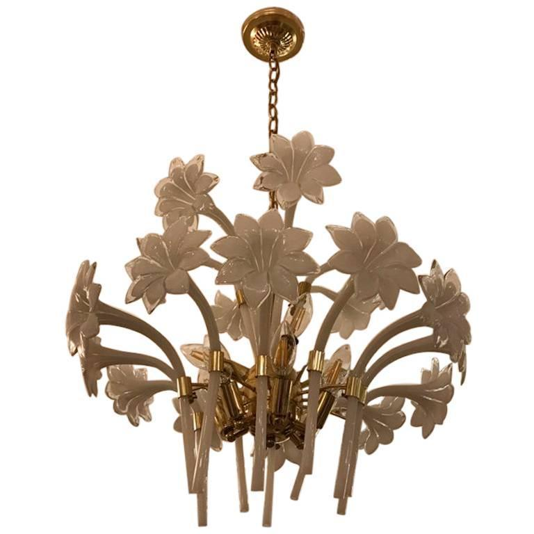 Italian Murano Mid-Century Two-Tier Brass Floral Chandelier