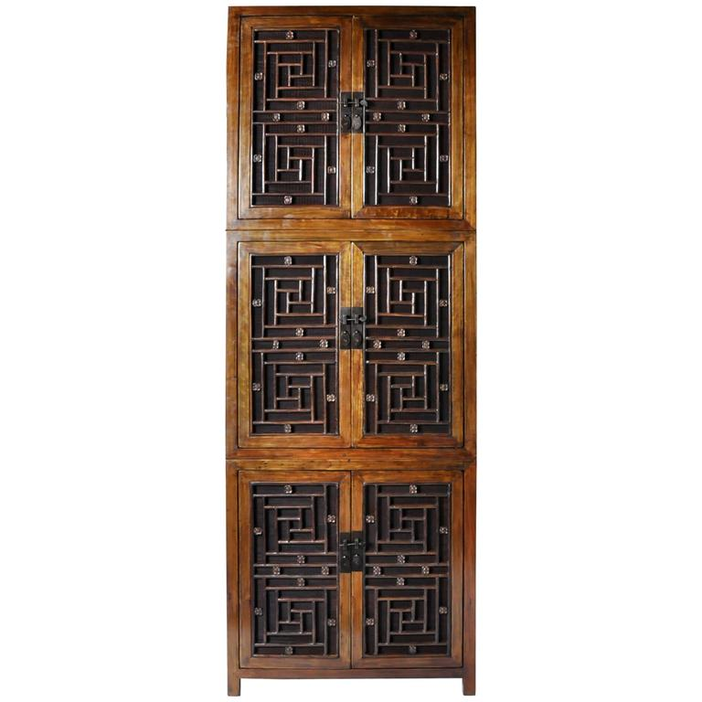 Tall Chinese Lattice Door Cabinet with Restoration