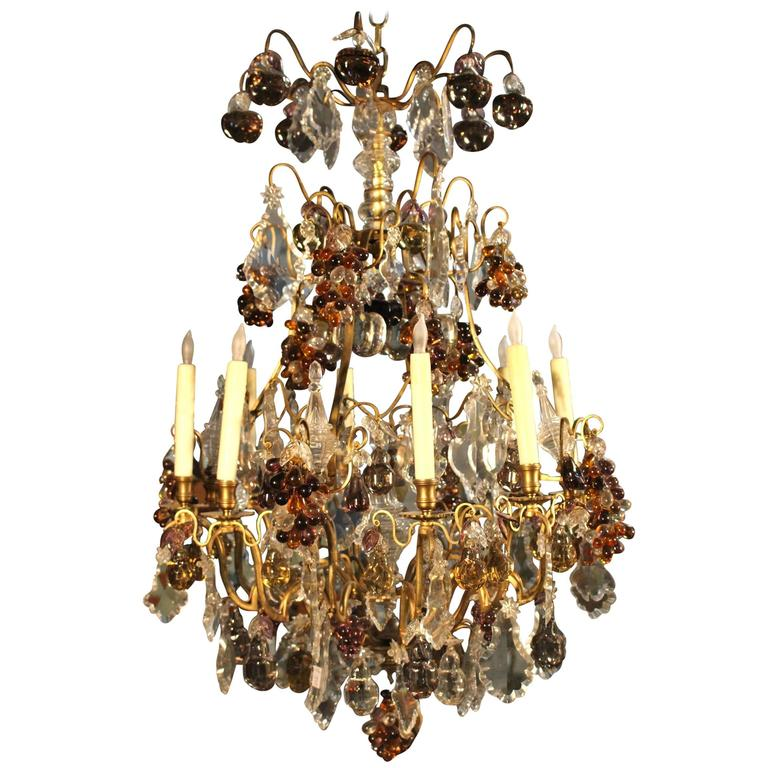 Large and Beautiful French Louis XV Style Bronze and Crystal Chandelier