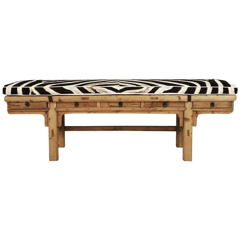 Calligrapher Five-Drawer Bench with Zebra Hide Cushion For Sale