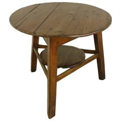 Antique Welsh Pine Cricket Table with Original Round Base Tray