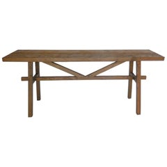 Dos Gallos Custom Reclaimed Wood Console with High Stretcher