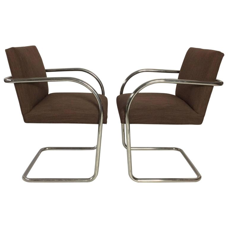 Pair Of Mies Van Der Rohe Tubular Chrome Brno Chairs By Knoll For