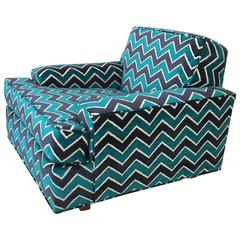 Mid-Century Modern Zig Zag Lounge Chair Newly Upholstered
