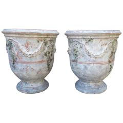 Pair of Large Painted and Distressed Anduze Pots, France
