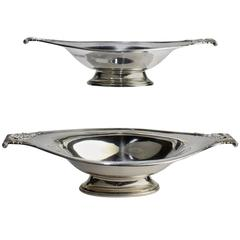 Pair of Edwardian English Sterling Silver Scroll Handle Bowls by Wilson & Sharp