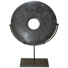 19th Century Buddhist Black Stone Disc on Stand