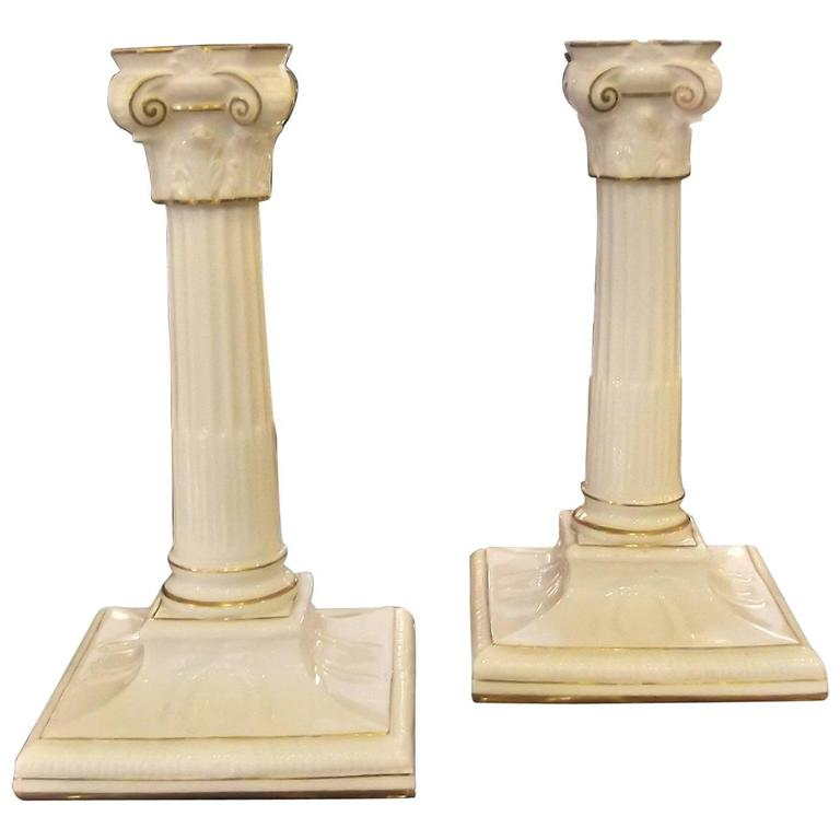 Pair of Antique English Gilt Porcelain Neoclassic Candlesticks For Sale