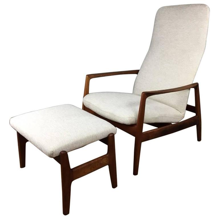 Folke Ohlsson High Back Reclining Lounge Chair And Ottoman At 1stdibs