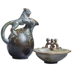 Bode Willumsen Sculptural Stoneware Set of Jug and Bowl, Denmark, 1930s