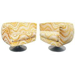 Pair of Craft Associates Swivel Tulip Lounge Chairs