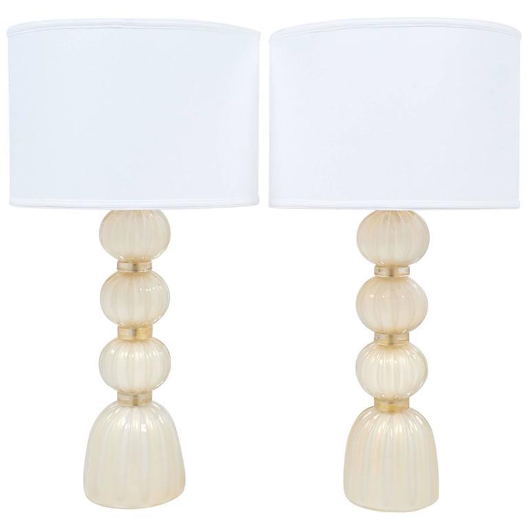 "Pair of Gold ""Avventurina"" Murano Glass Table Lamps"