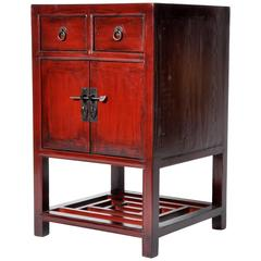 Chinese Red Lacquered Side Chest with Restoration
