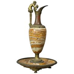 Italian Grand Tour Onyx and Bronze Ewer