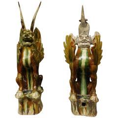 8th Century Tang Dynasty Sancai Glazed Earth Spirits