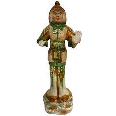 8th Century Tang Dynasty Sancai Glazed Guardian Official