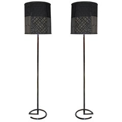 Jacques Adnet Tall Chrome Floor Lamps