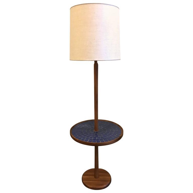 Blue Circular Tile-Top Jane and Gordon Martz / Marshall Studios Floor Lamp 1