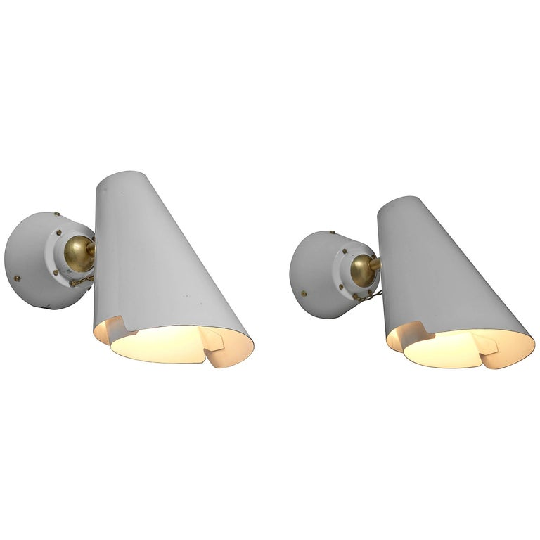 Pair of Paavo Tynell Model 2351 Wall Lamps for Idman, Finland