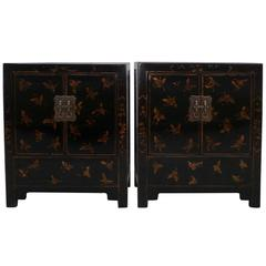 Pair of Fine Black Lacquer Chests