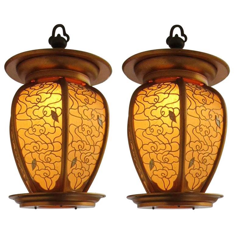 Lovely Pair of Large Custom-Made Mid-20th Century Hanging Lanterns