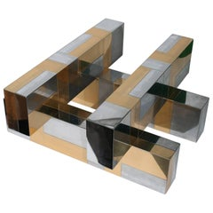 Paul Evans 'Cityscape' Coffee Table in Brass and Chrome