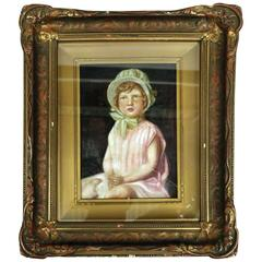 Antique Oil on Canvas of Young Girl by Joseph Hilpert, Signed and Dated, 1929