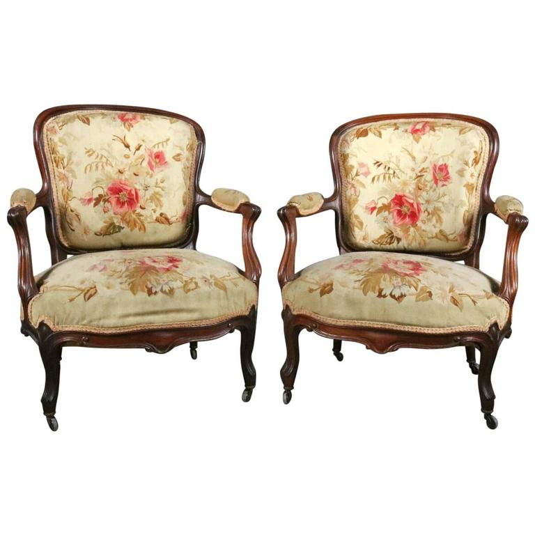 Pair Antique French Louis XV Carved Rosewood & Floral Tapestry Fauteuils, c 1880