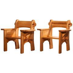 1938, Set of Two Pine 'Berga' Chairs by David Rosén & Axel Einar Hjorth
