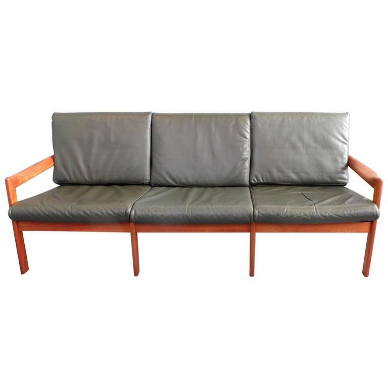 Illum Wikkelso Three Seat Teak Sofa, Danish, 1960s, Produced by Eilersen